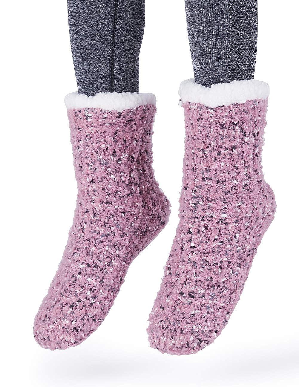 6a17365453f MaaMgic Womens Fuzzy Slipper Socks Girls Cozy Funny Grip Socks Black  4713071072000