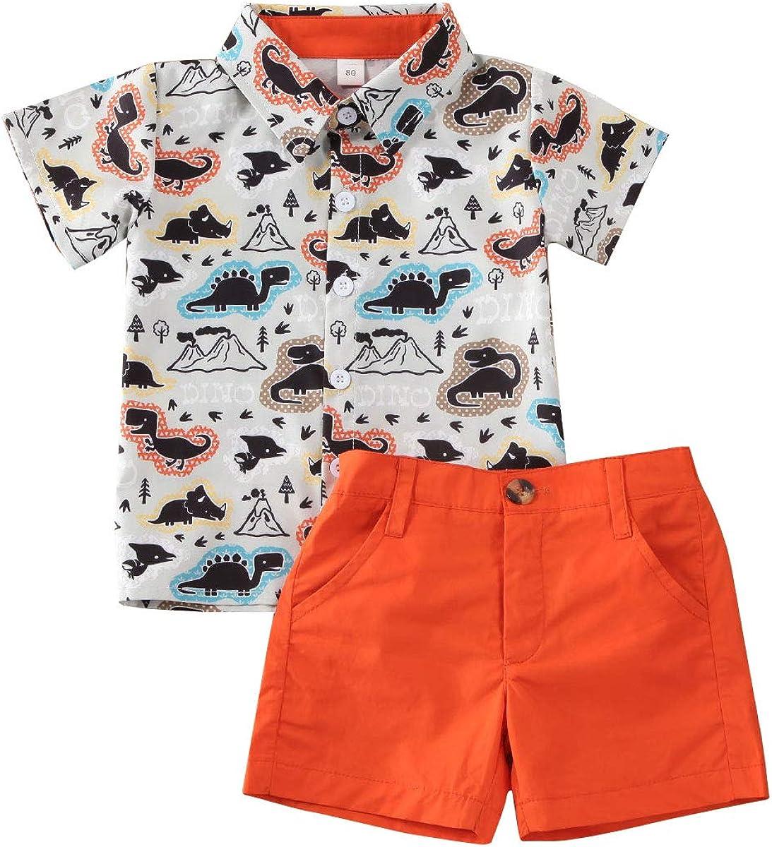 Geagodelia 2tlg Kinderkleidung Babykleidung Set Kinder Baby Jungen Kleidung Outfit Kurzarm Hemd Top Shorts Kleinkinder Weiche Strand Babyset T-39658
