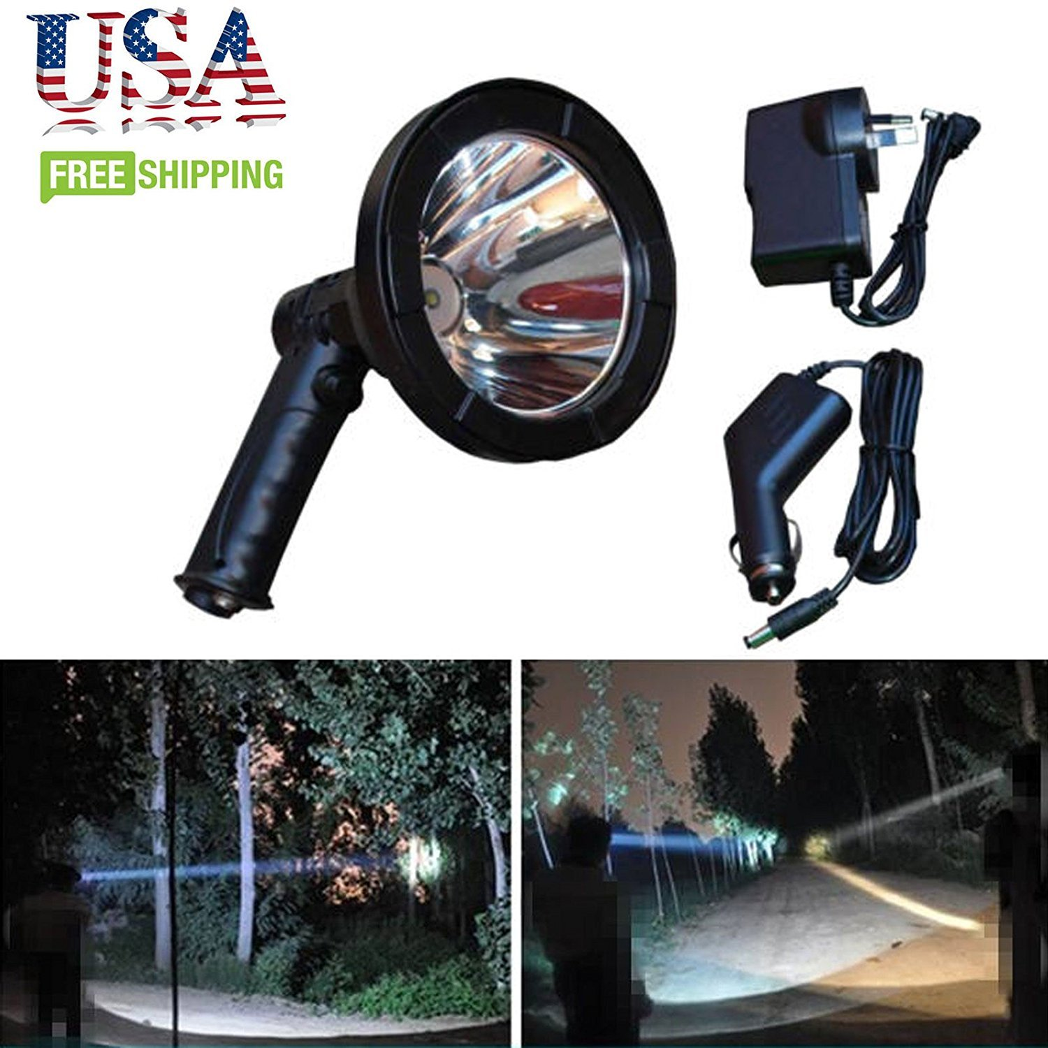 LED Hunting Spotlight Handheld Rechargeable T6 12V 5 Inch 2500 Lumen for Outdoor Home Farming Auto - 2 Year Warranty