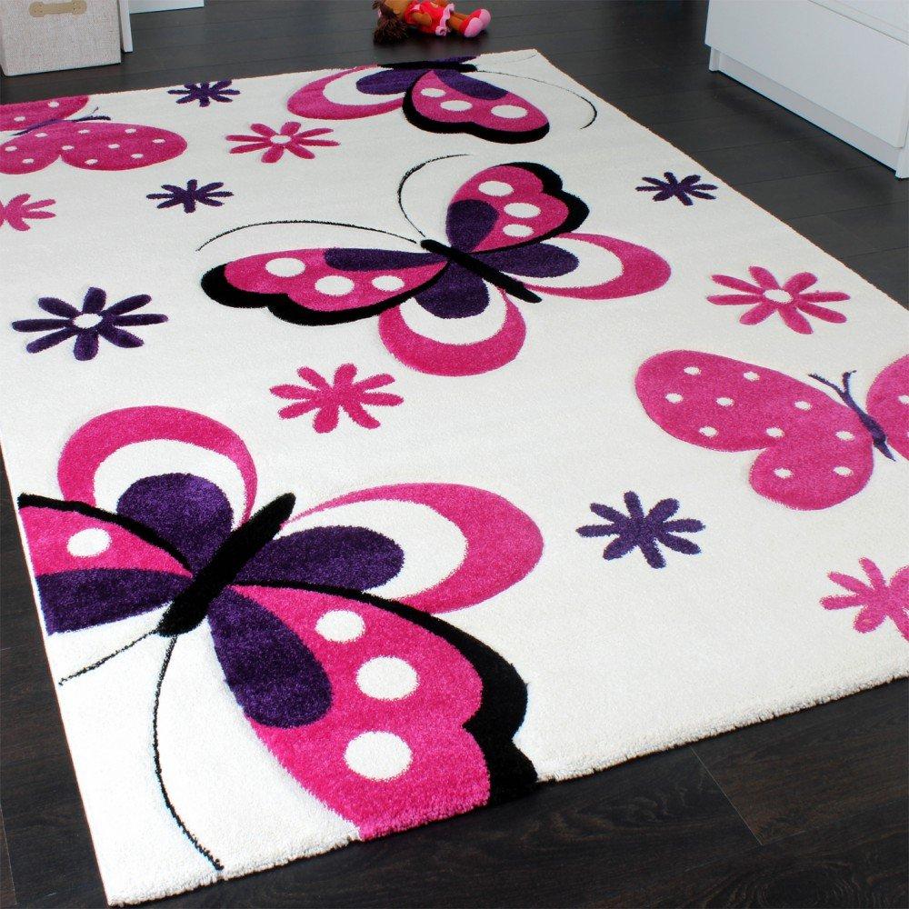 Enfants TapEnfants Tapis Papillon Cr/ème Roseis Papillon Cr/ème Rose Dimension:80x150 cm