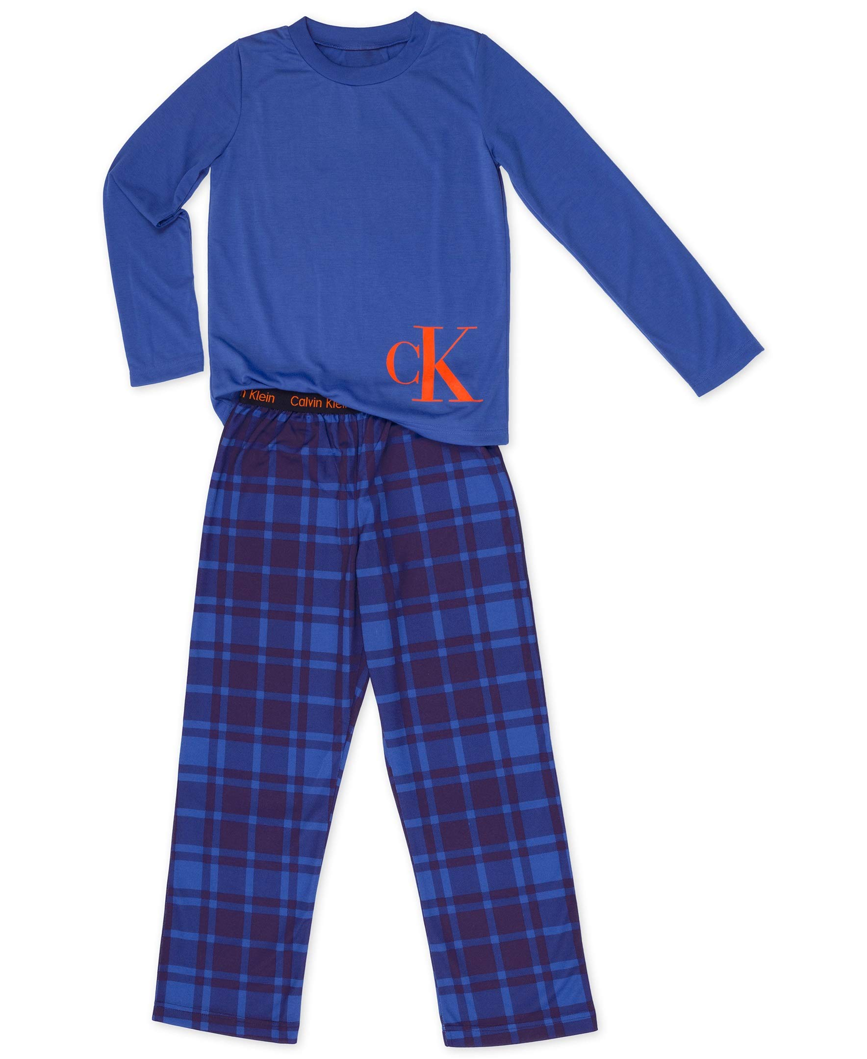 Calvin Klein Big Boys' 2 Piece Sleepwear Top and Bottom Pajama Set Pj, Long Sleeve - Victoria Forest Plaid Blue, X-Large - 14/16