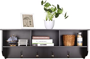 Homfa Hanging Entryway Shelf, 38.6 in Wall Mounted Storage Cabinets Coat Rack with 4 Dual Hooks Wood Modern Display Home Decor Furniture, Espresso