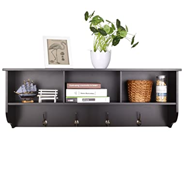Homfa Hanging Entryway Shelf, 38.6  Wall Mounted Storage Cabinets Coat Rack with 4 Dual Hooks Wood Modern Display Home Decor Furniture, Espresso