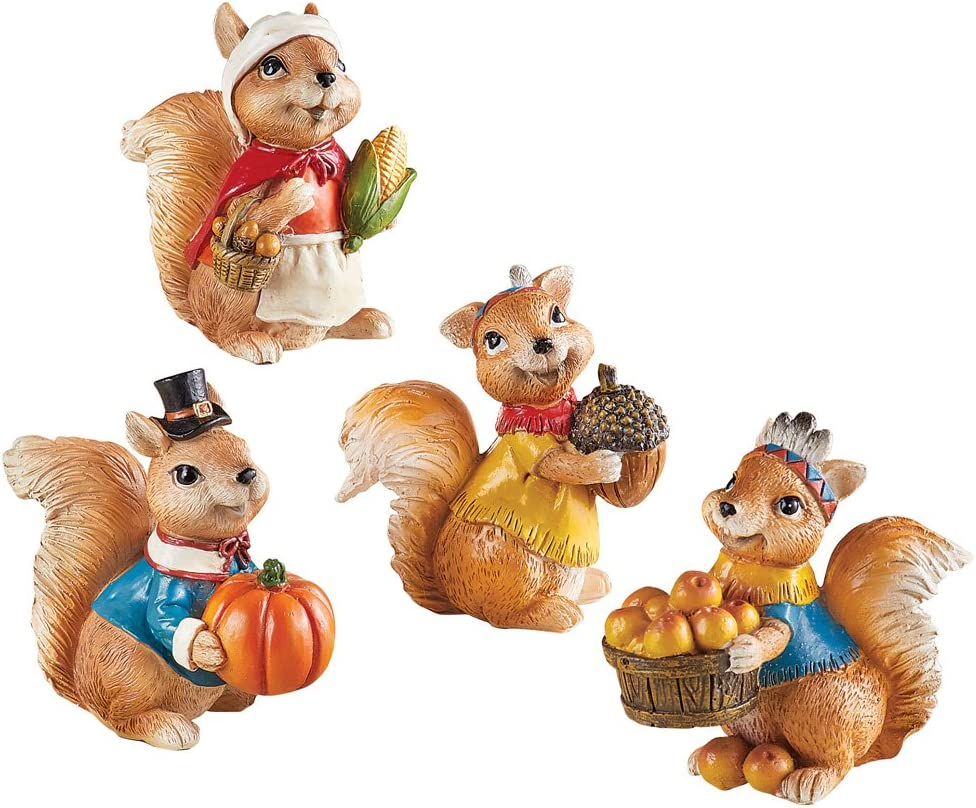 Collections Etc Cute Harvest Squirrels Table Sitters, Fall Tabletop Decorations