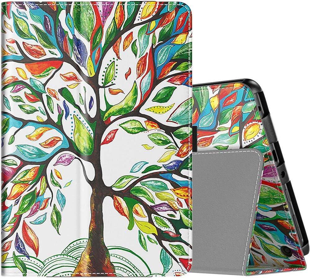TiMOVO Funda Compatible con All-New Fire HD 8 Tablet (10th Generation, 2020 Release), PU Cuero Ultra Slim Funda Función de Soporte Plegable (Auto Sueño/Estela) Tableta - Árbol de Suerte