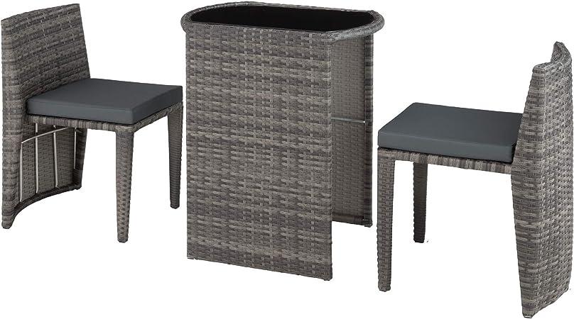 tectake 800692 Salon de Jardin 2 Personnes en Résine Tressée et Aluminium,  Encastrable, 2 Chaises et 1 Table avec Plateau en Verre, Coussins Inclus -  ...