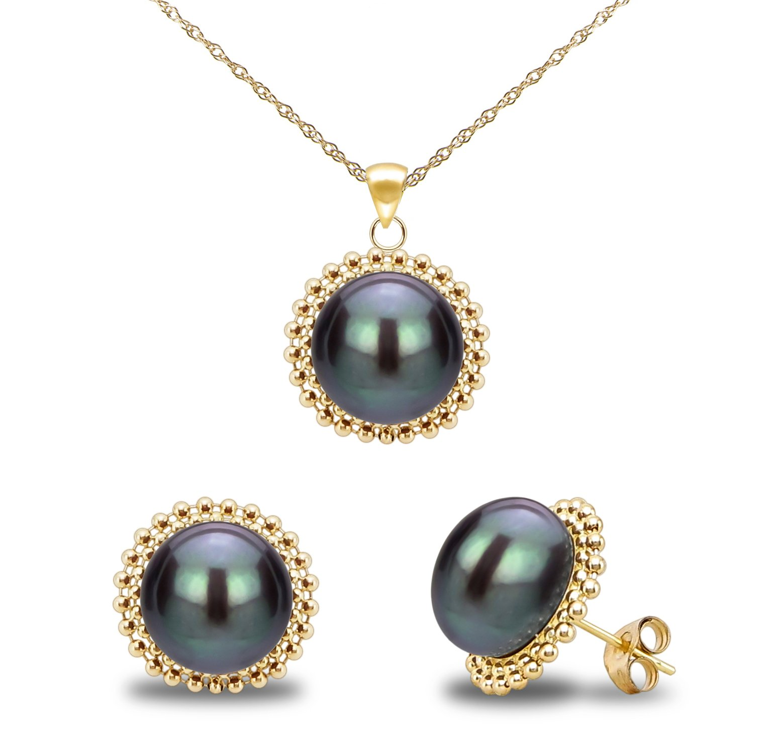 14k Yellow Gold 9-9.5mm Dyed-black Freshwater Cultured Pearl Beaded Pendant and Stud Earrings Set