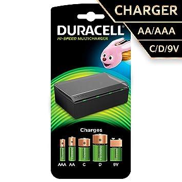 Duracell Multi Charger f/AA/AAA/C/D/9v - Cargador (9 V, 2 cm, 10,5 cm, 6,5 cm, Negro, AA, AAA, C, D)
