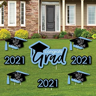 product image for Big Dot of Happiness Light Blue Grad - Best is Yet to Come - Yard Sign and Outdoor Lawn Decorations - Light Blue 2021 Graduation Party Yard Signs - Set of 8