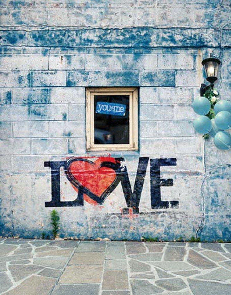 A Monamourライトブルーレンガ壁石GroundアウトドアLoveグラフィティ5 x 7ft写真の背景幕   B01N09UDAQ
