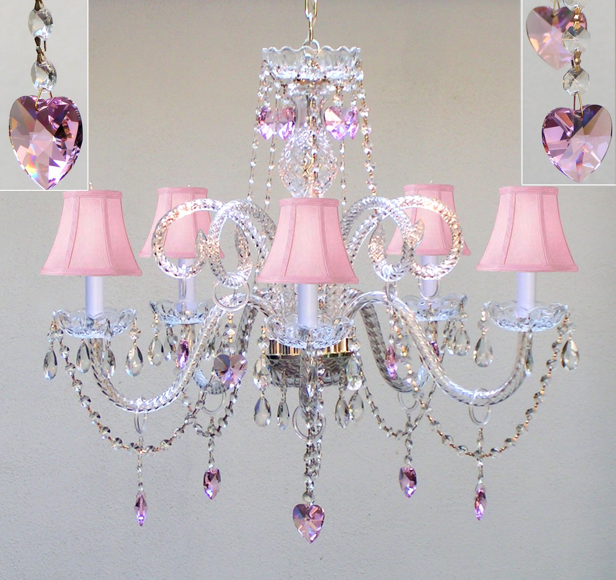 CHANDELIER LIGHTING W/ CRYSTAL PINK SHADES & HEARTS! H25'' x W24'' - PERFECT FOR KID'S AND GIRLS BEDROOM!