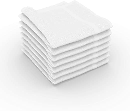 12 new white 12x12 100/% cotton terry shop towels soft absorbent cleaning towels