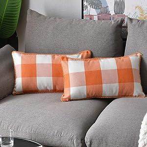 WLNUI Set of 2 Fall Orange Lumbar Buffalo Plaid Pillow Covers 12x20 Inch with Cute Pom Poms Retro Farmhouse Rustic Check Throw Pillow Covers Cushion Case for Farmhouse Home Couch Sofa Decor