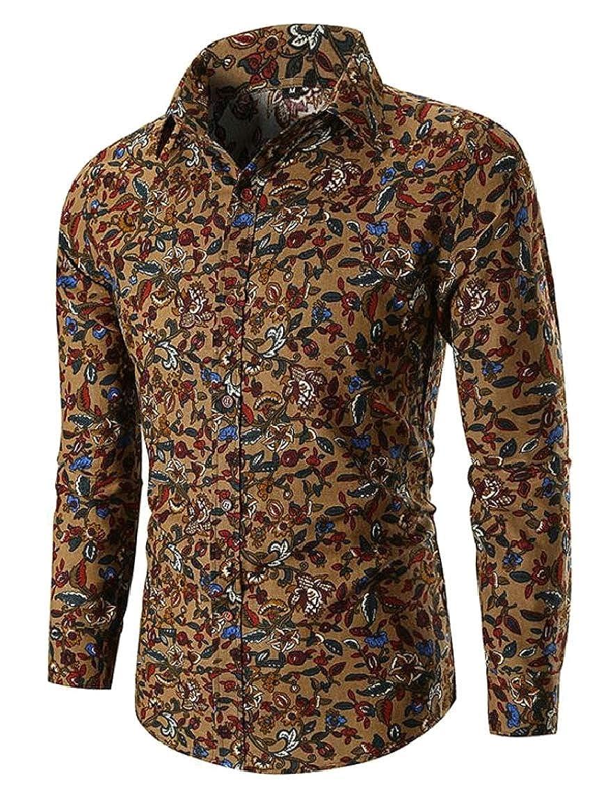 Hajotrawa Men Turn Down Long Sleeve Printing Floral Tops Button Front Shirts