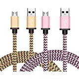 Micro USB Cable 2 Pack 3ft, BeneStellar Premium Nylon Braided Micro USB Cable, USB 2.0 A Male to Micro B Sync and Charging Cables for Samsung, HTC, Nexus, Motorola, Nokia, Android and More (3ft / 0.9m, Pink & Gold)