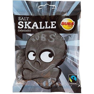 2 Bags x 90g of Bubs Godis Salt Skalle - Salt Skallar - Original - Swedish - Salmiak - Salty Licorice - Salmiakki - Salt Skull - Gelatine Free - Wine Gums - Candies : Grocery & Gourmet Food