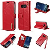 DG.MING For Samsung Galaxy S7 Edge Detachable Wallet Case,Ultra Slim Magnetic Folio Flip Removable 2in1 Genuine Leather Card Slot Holder PC Back Kickstand Cover for Samsung Galaxy S7 Edge - Red
