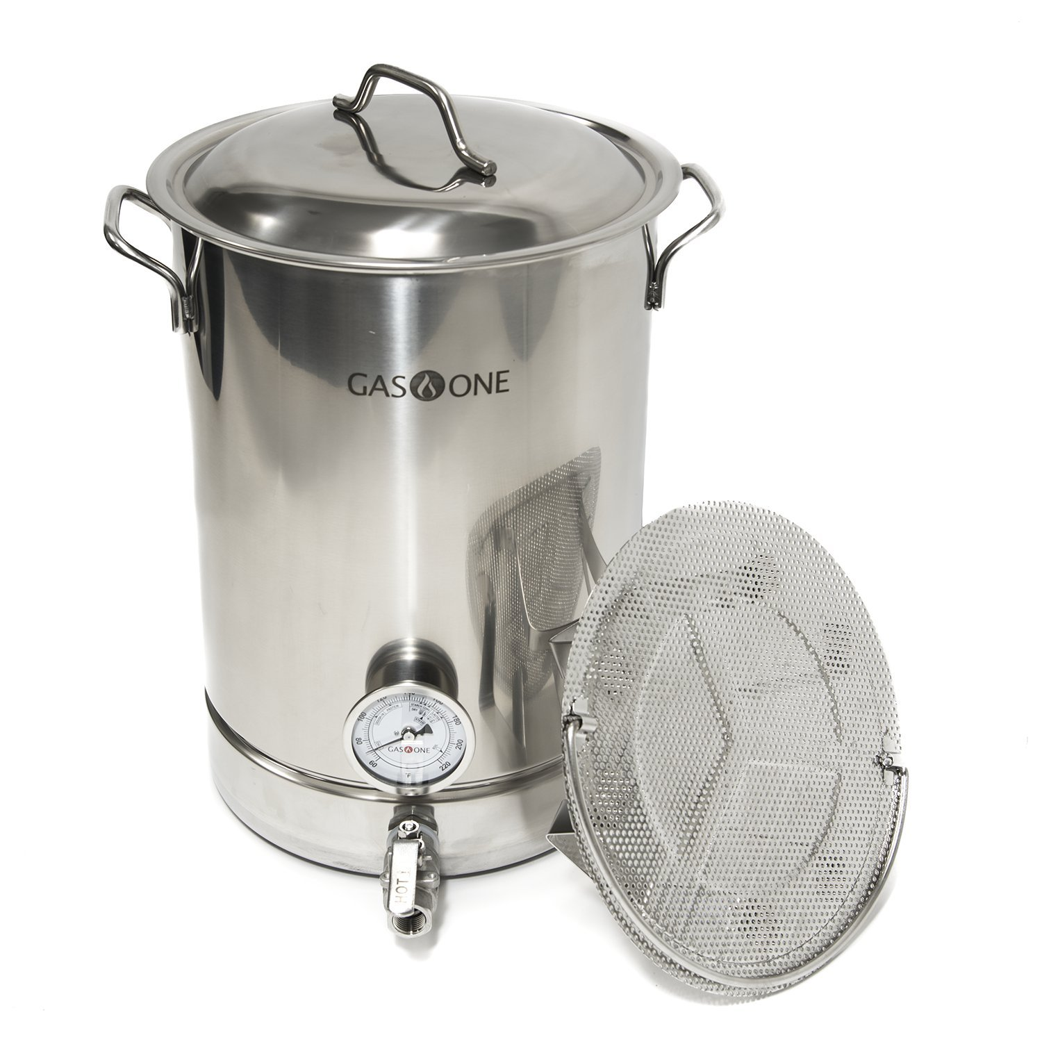 GasOne 8 gallon Stainless Steel Home Brew Pot Brew Kettle Set 32 Quart filtration & TRI PLY Bottom for Beer Brewing Includes Lid Ball valve Thermometer False bottom Mesh Tube tool Complete Kit