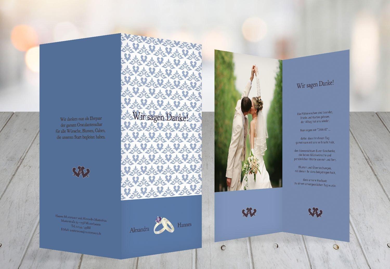 Kartenparadies Danksagung für Hochzeitsgeschenke Hochzeit Danke Ornament mit Herz, Herz, Herz, hochwertige Danksagungskarte Hochzeitsglückwünsche inklusive Umschläge   10 Karten - (Format  105x215 mm) Farbe  TürkisGrauMatt B01MYARYC6 | Authen cf9309