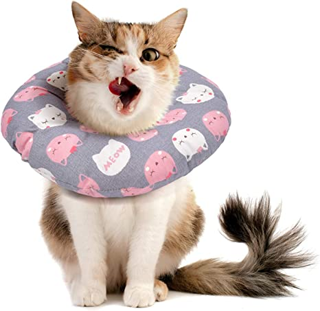 Lopbraa Cat Kitten Recovery Neck Cone Alternative Protective Collar Soft for Head Scratching After Surgery Adjustable Cone for Cats