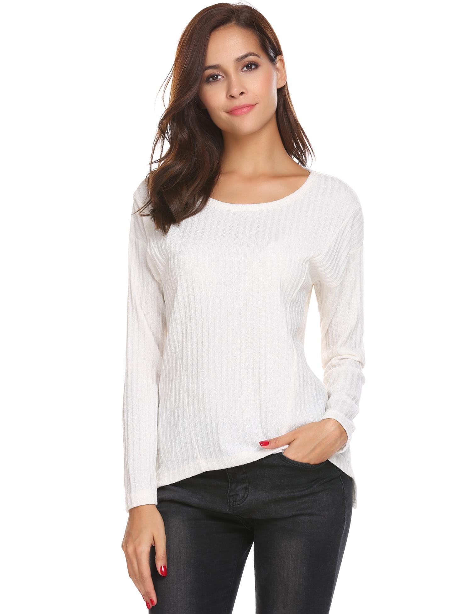Zeagoo Women Causal Loose Long Sleeve Solid White Knit Jumper Pullovers Sweater 1white Small
