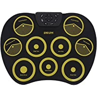 Nrpfell Portable Electronics Drum Set Roll Up Drum Kit 9 Silicone Pads USB Powered with Foot Pedals Drumsticks USB Cable
