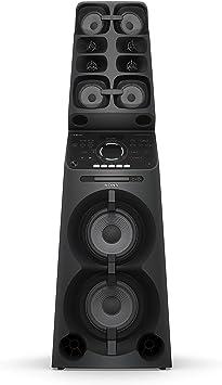 Sony MHCV90DW - Sistema de Audio de Alta Potencia (13 Altavoces Apilados; Bluetooth, LDAC, DVD, HDMI, USB, Modo Karaoke, Entrada de Guitarra, iluminación LED, Efectos de DJ, asa y Ruedas), Negro: Amazon.es: