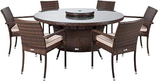 Muebles de exterior de ratán para interiores y exteriores, mesa redonda grande de 6 plazas, incluye mesa de comedor Lazy Susan en color marrón: Amazon.es: Jardín