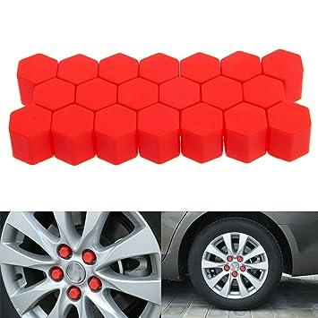 19mm Rojo 20piezas La funda de silicona de la rueda del tornillo de tapa para los autos: Amazon.es: Coche y moto