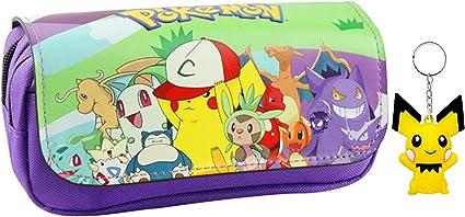 T-MIX Pokemon Pikachu Estuche de lápices Anime Gran Capacidad Doble Cremallera Lápiz Bolsa Cartera Bolsa de papelería (Colour12): Amazon.es: Juguetes y juegos