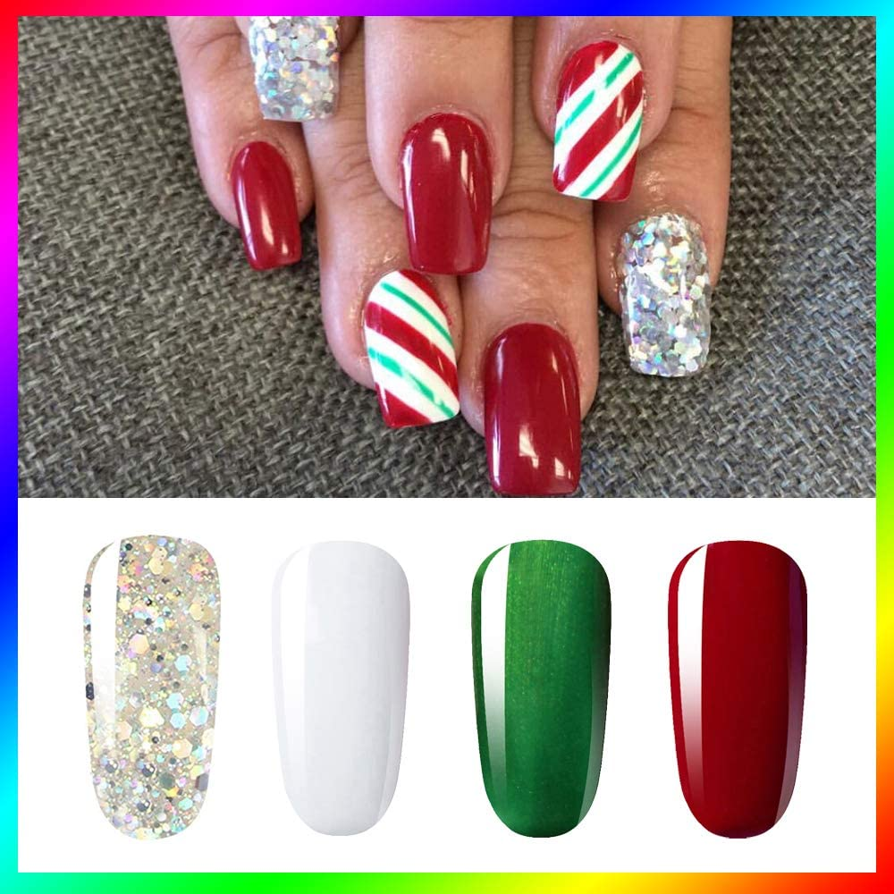 Vishine Soak Off UV LED Christmas Collection Glitter Gel Nail Polish Color  Set Of 4 Colors X 8ml Red White Green Sparkle Silver Nail Art Kit Set