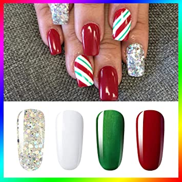 803d7c4cc81e Amazon.com   Vishine Soak Off UV LED Christmas Collection Glitter Gel Nail  Polish Color Set Of 4 Colors X 8ml Red White Green Sparkle Silver Nail Art  Kit ...