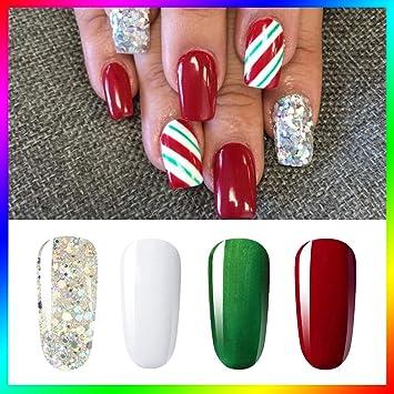 Christmas Nails Gel.Vishine Soak Off Uv Led Christmas Collection Glitter Gel Nail Polish Color Set Of 4 Colors X 8ml Red White Green Sparkle Silver Nail Art Kit Set