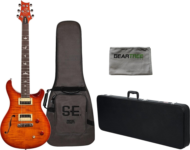 PRS SE Custom 22 Semi hueca guitarra eléctrica Vintage Sunburst w/funda, carcasa rígida, y gamuza de geartree: Amazon.es: Instrumentos musicales