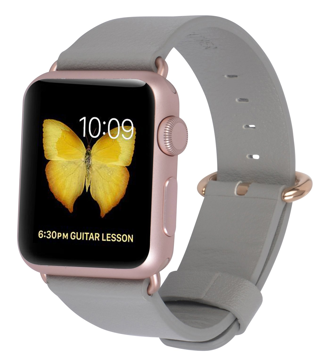 For Apple Watch Band Leather Loop Iwatch 1 2 3 Grey Rose Gold Buckle
