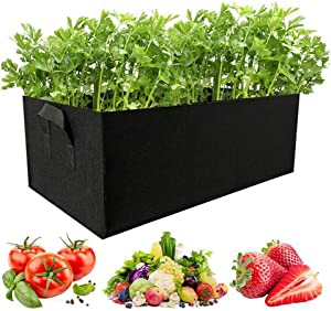Square Thickened Nonwoven Vegetable Planting Pots Garden Flower Grow Bags with Handles by Homthia (6 Gallon, Black)