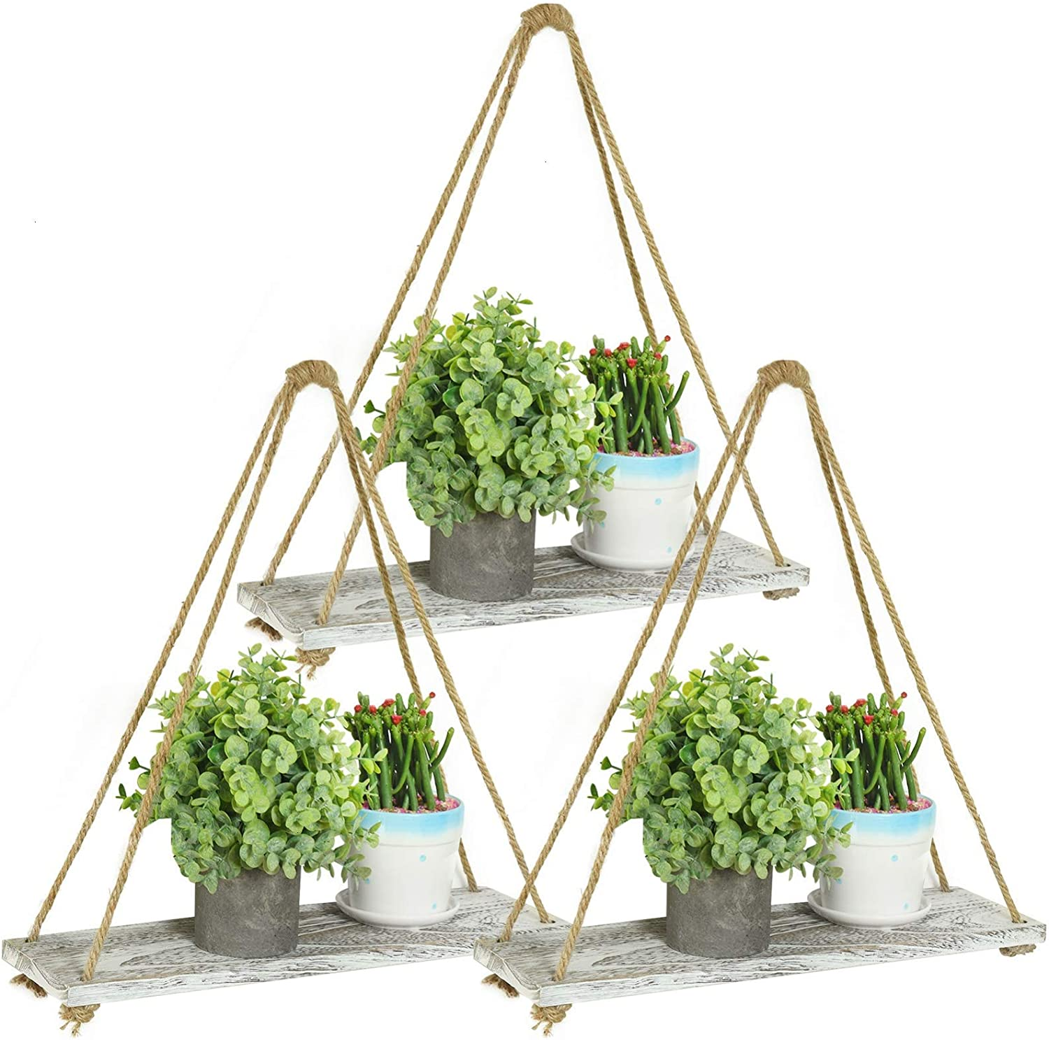 COYMOS Hanging Shelves Rustic Hanging Plant Shelf Indoor Wall Farmhouse Hanging Wall Shelves for Bedroom Home Wall Decor for Livingroom Bathroom Kitchen Triangle Rope Set of 3