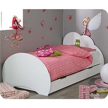 pack lit enfant nuage blanc 90x190 cm avec sommier et matelas - Lit Enfant 90x190