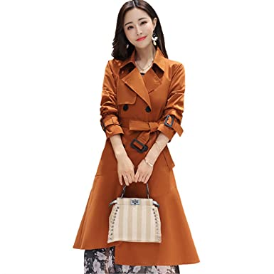 0a2dfbd539ca Amazon.com: Ivan Johns Warm Women Caramel Color Long Trench Coat Turn-down  Collar Double Breasted Slim Office Lady Coats: Clothing