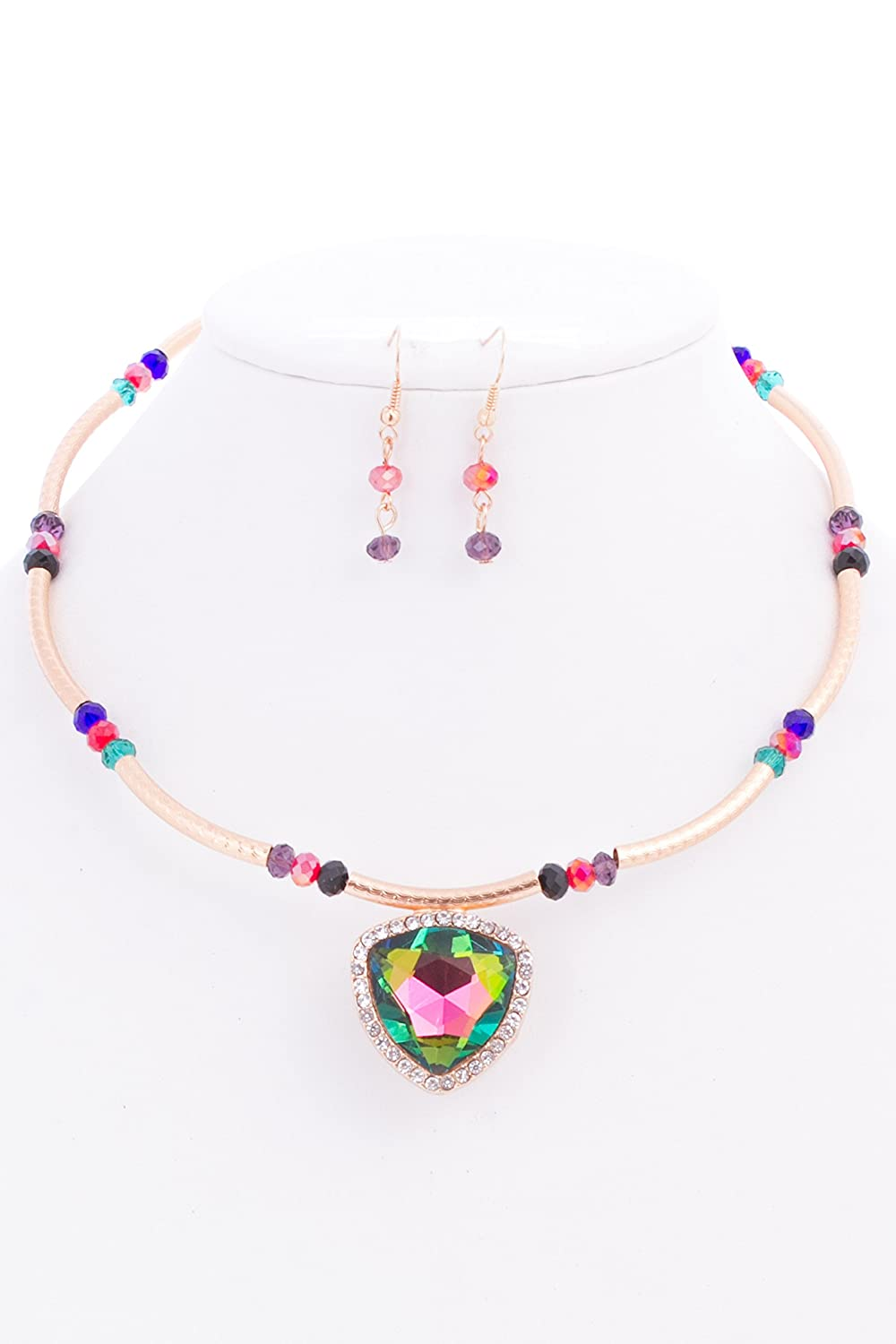 discount Peyton Glass Stone Choker Necklace and Earrings Set get discount
