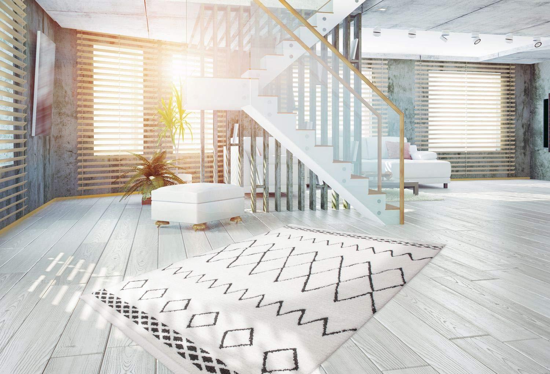 One Couture HOCHFLOR Teppich Ethno Style Teppich Berber Teppich WEICH SCHWARZ MODERNER, Größe:80cm x 150cm