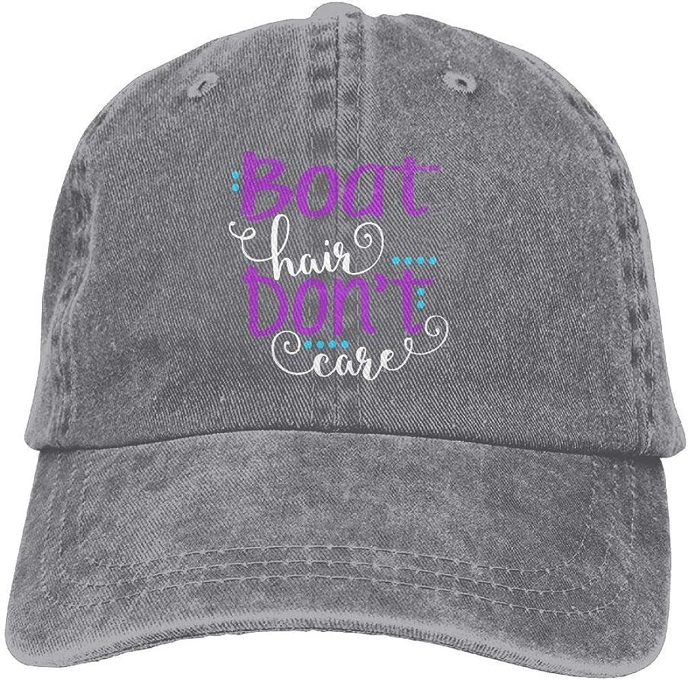 Keerqingqu Men Women Adjustable Yarn-Dyed Denim Baseball Cap Boat Hair Don't Care Trucker Cap
