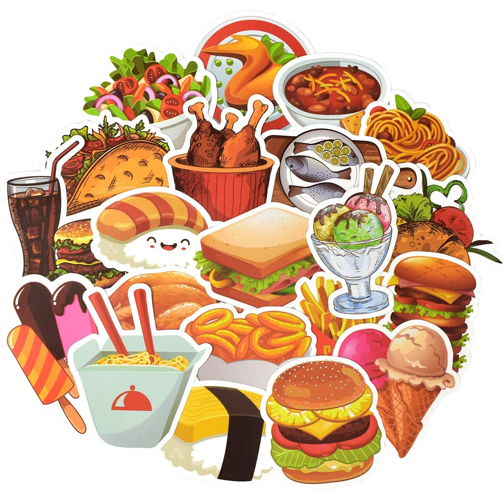 QTL Waterproof Food Vinyl Stickers Bomb Laptops Water Bottle Fridge Home Decor Toys for Kids (50Pcs/Pack)