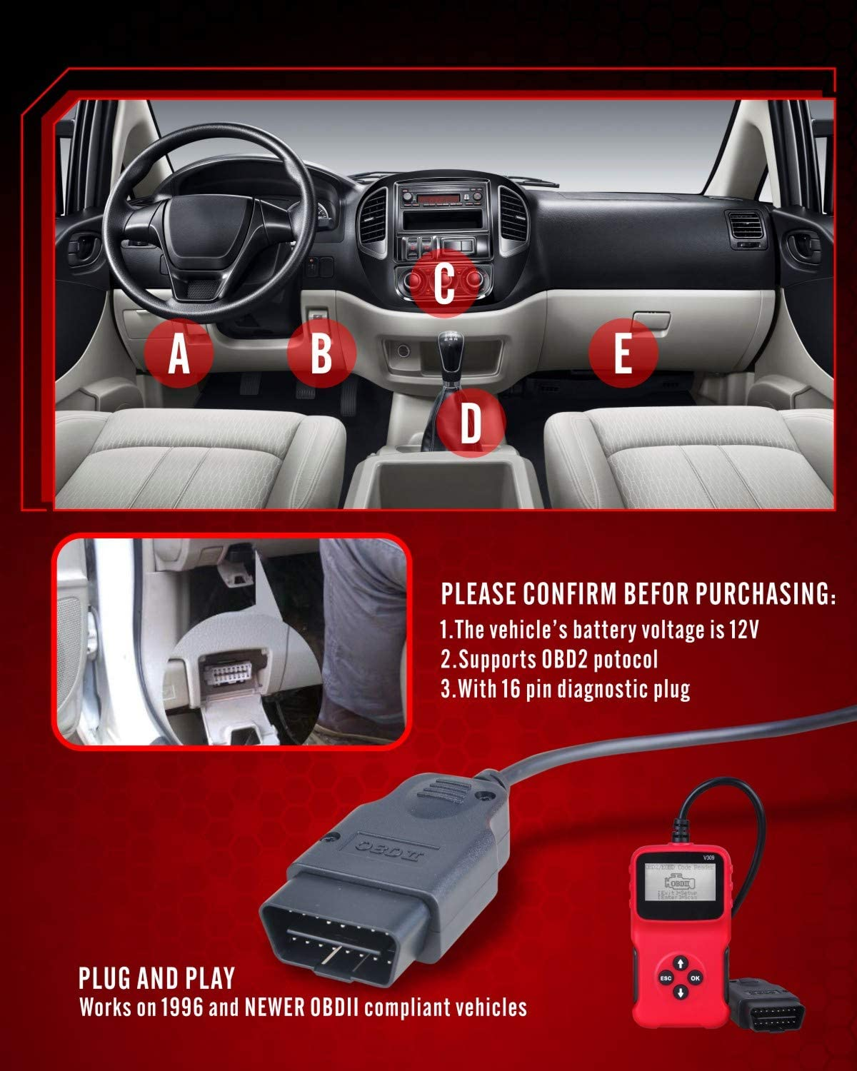 KOYOSO OBD2 Scanner with HD LCD Display Screen Red Wired Car OBD2 code reader for Reading and Clearing Error Codes//Automotive Engine Light Check //O2 Sensor//EVAP Test by 5 Languages