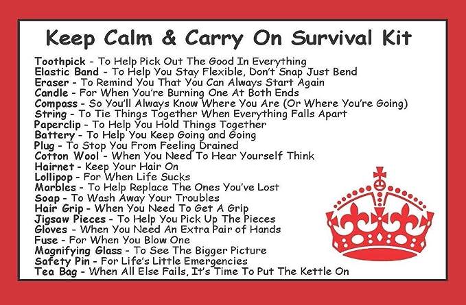 Kit de supervivencia en una lata para mantener la calma y llevar en un divertido festival de regalo, camping, viajes/viajes, escuela/exámenes, ...