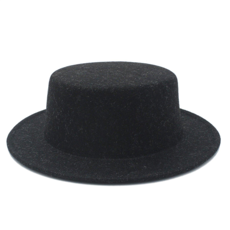 SF Wool Fedora Hat,Boater Flat Top Hat For Women's Men' Felt Wide Brim Chapeu de Feltro Gambler Prok Pie Fedora Hat (Color : 2, Size : 57-58CM)