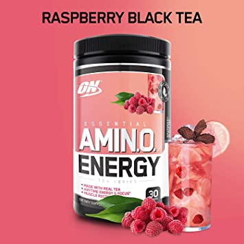 OPTIMUM NUTRITION ESSENTIAL AMINO ENERGY, Raspberry Black Tea, Keto Friendly Preworkout and Essential Amino