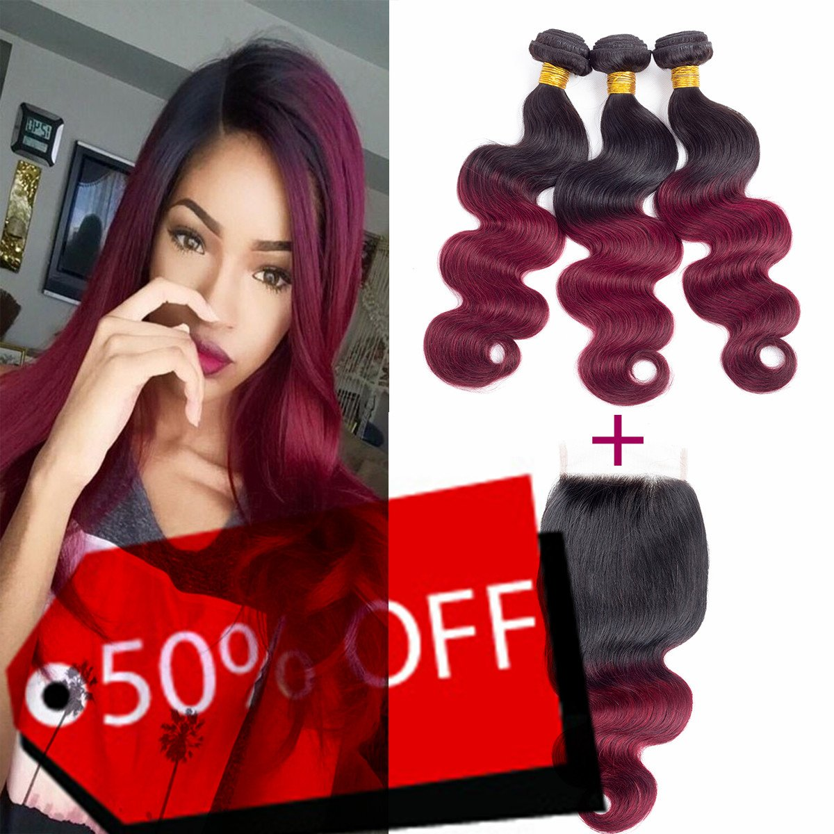 Red Ombre Human Hair Bundles With Closure Extensions, Crimson Hair Ombre Burgundy Bundles. Tangle Free Soft Barely Shedding Bouncy(16 18 20 +14)