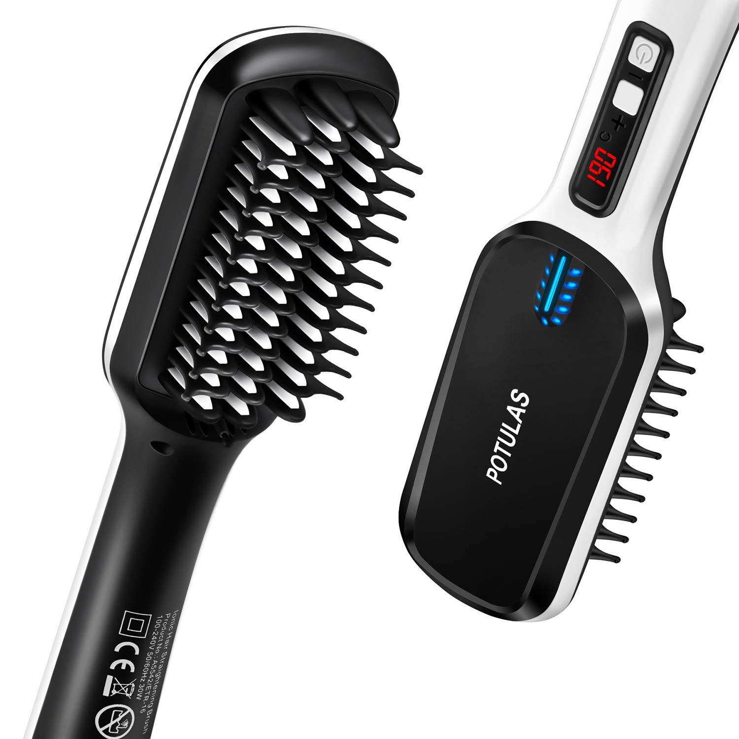 Ionic Hair Straightener Brush by Potulas, 30s Fast PTC Ceramic Heating Hair Beard Straightening Brush with Anti Scald Feature, Auto-Off Dual Voltage, Portable Electric Straightening Comb for Women