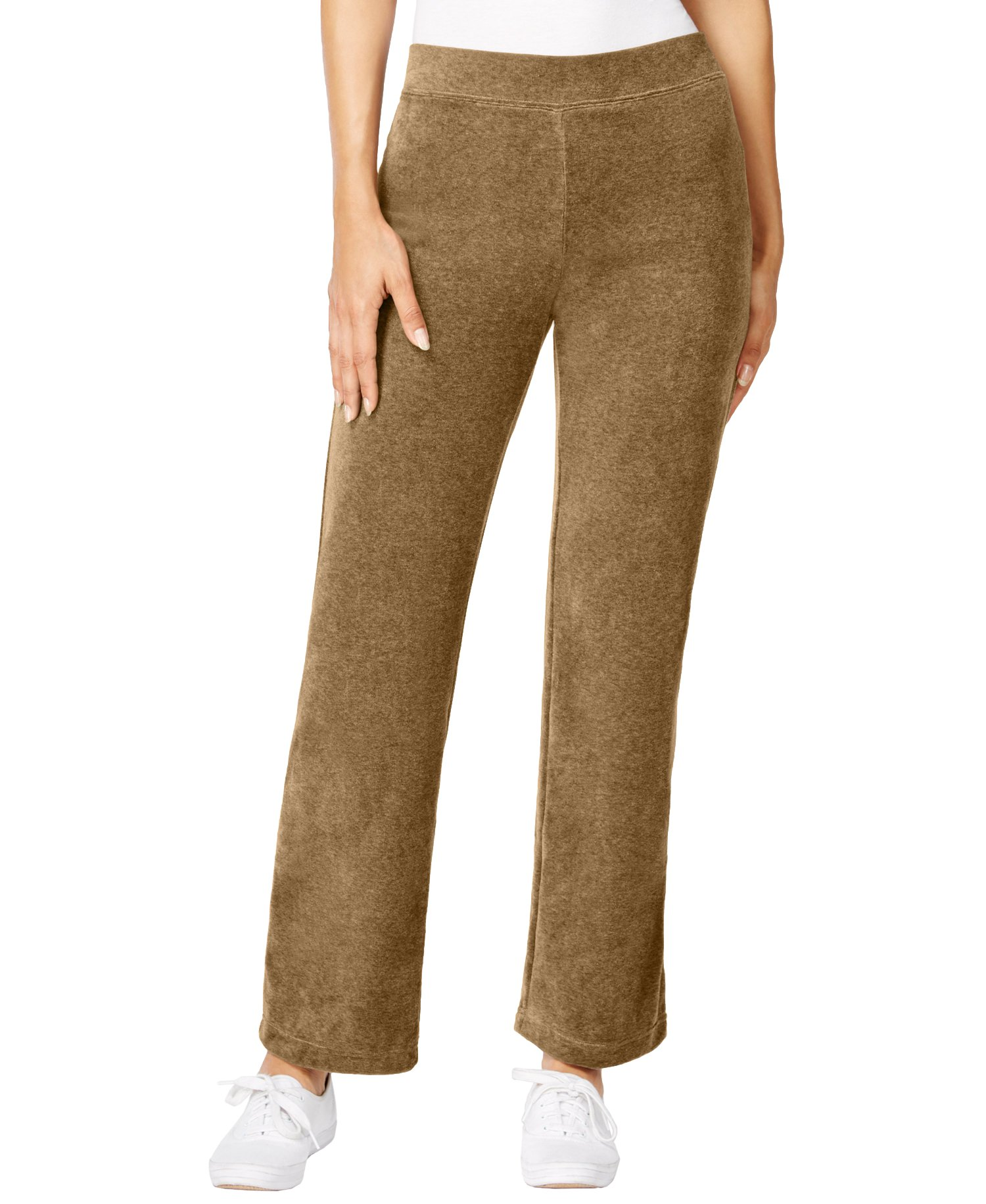 Style & Co. Women's Petite Pull-On Velour Pants (Petite X-Large, Camel Luxe)